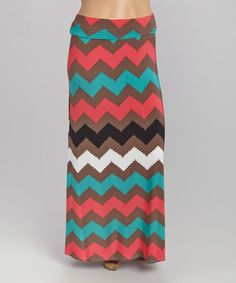 Look what I found on #zulily! Brown & Teal Wavy Chevron Maxi Skirt - Plus #zulilyfinds