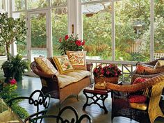 Screened porch...I'd be out here all day...love it. country porches, sunrooms, decorating ideas, screen porch, wicker furniture, french country, patio, porch decorating, screened porches