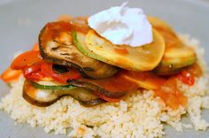 Ratatouille with couscous and goat cheese from Smitten Kitchen