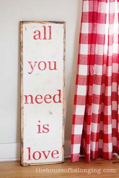 red kitchen, gingham, curtains, foods, custom homes