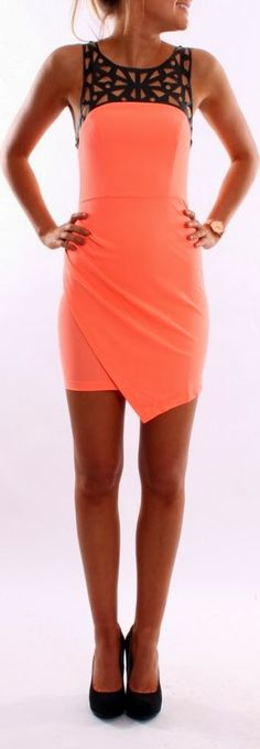Black neck detail coral mini dress