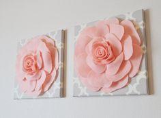 pink roses, nursery walls, flower light, canvas wall art, babies nursery, flower idea, babi room, wall flowers, babi nurseri