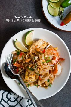 Pad Thai with Shrimp & Tofu is one of my most popular Thai dishes and so easy to make #recipe