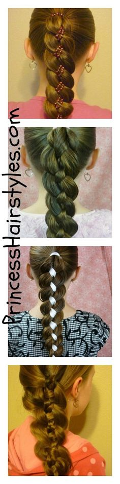 4 strand braid variations, video tutorial!  The little girl (model) is my neighbor! Kasha! (: famous little girl! I can't belive u made it to pintrest!