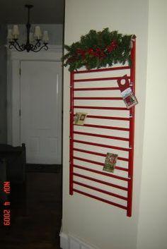 Crib side to Christmas card hanger (or quilt hanger, etc.)