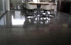 Polished concrete floor dark grey
