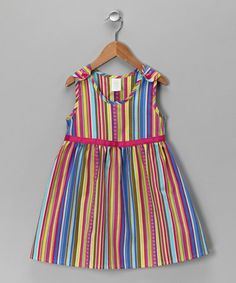 Take a look at this Rainbow Stripe A-Line Dress - Toddler & Girls by Moo Boo's on #zulily today!