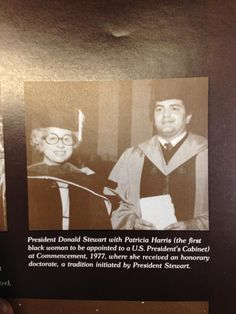 Spelman History is Black History: Patricia Roberts Harris with Spelman College President Donald Stewart at Commencement 1977, where she received an honorary doctorate. Appointed secretary of housing and urban development (HUD) by President Jimmy Carter, Harris was the first Black woman to be appointed to a U.S. President's Cabinet.