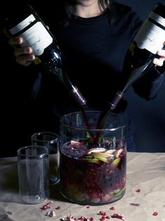 sangria with apples and pomegranate