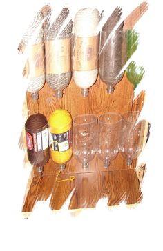 liter soda bottles as a method to organizing your yarn