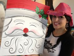ENID DECEMBER EVENT - Tipsy Artist - adorable Santa canvas