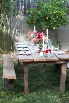 parti inspir, garden decorations, backyard dinner party, big backyard, backyard dinner parties, picnic tabl