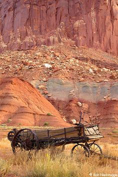 An old wagon most likely used by the early Mormon settlers of Fruita,  Capitol Reef National Park, Utah by Ron Niebrugge.