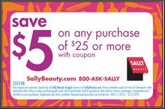 Sally Beauty Supply Printable Coupon: $5 off $25 (Printable) 25 printabl, coupons, suppli printabl, save, beauti printabl, salli beauti, beauty, printabl coupon, beauti suppli