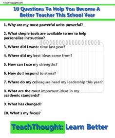 10 Questions To Help You Become A Better Teacher This School Year