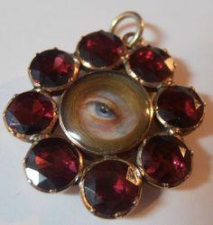RARE Georgian Lovers Eye Miniature Gold Garnet Pendant 1790 Private Collection