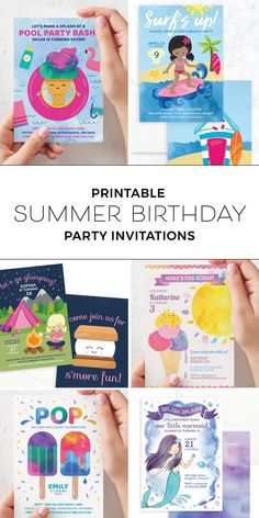 Party planning made easy with our collection of printable summer birthday party invitations and ideas for girls! Party themes include glamping/camping, mermaid, surfing, pool party, ice cream, popsicle and more! #summerparty #poolparty #birthdayinvitations