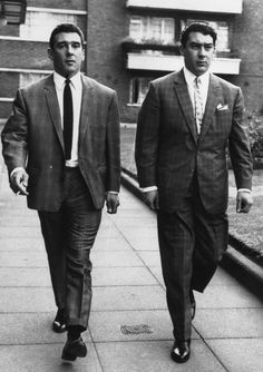 Notorious east London gangsters Ronnie Kray and Reggie Kray.