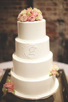 monogrammed! so simple. simple cakes, simple weddings, wedding photos, rustic weddings, white weddings, fresh flowers, white cakes, white wedding cakes, rustic wedding cakes