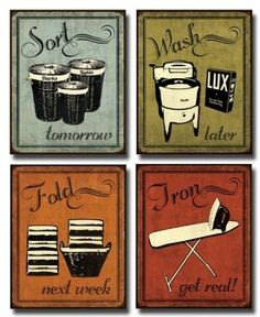 Laundry Room Decor : Vintage Laundry Room Signs & Laundry Room Rugs  Got these for 1.49$ for all 4! Just need to decide on how I want to hang them in laundry room
