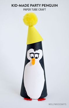 Kid-Made:  Paper Tube Penguin Craft (by Miss8)