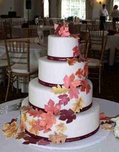Fall Wedding Theme Wedding Cake with Colored Leaves