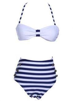 Fashion White Tops with Navy Blue Stripes Thong Swimwear