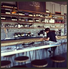 Le Zinque at Venice, CA. wines, wine bars, cafe interior, early mornings, abbot kinney, glass, venice, zinqu, design