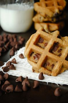 Waffle maker choclate chip cookies! These are NOT chocolate chip waffles, they are cookies. I made these this morning and they really are yummy! But I filled the whole waffle mold and I'm going to make ice cream sandwiches with them when they cool.
