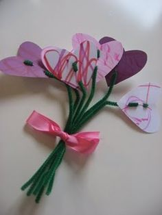 Flower Art - let toddlers scribble/draw on construction paper, then cut it into heart shapes.