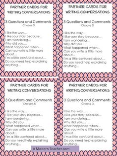 partner cards for writing - i love that this helps start a conversation about the pieces of writing