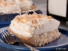 Automat-Style Coconut Cream Pie - Bring back memories of your favorite diner dessert. food recipes, cream pies, foods, coconuts, dessert recip, pie recip, mrfood recip, coconut cream, automatstyl coconut