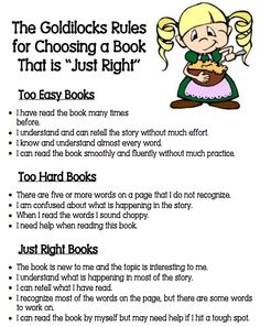 "Goldilocks Rules for Choosing a ""Just Right"" Book"