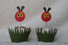 Very Hungry Caterpillar Cupcake Toppers. $30.00, via Etsy.
