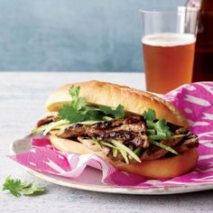 Luke Nguyen's banh mi sandwich is filled with peppery grilled pork and hoisin sauce.