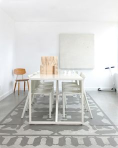 love this painted concrete floor rug