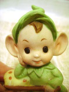 Vintage Pixie Elf  Figurine Mushroom Woodland by junquegypsy, $9.20