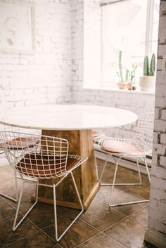 White grid chairs