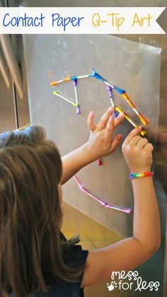 Contact Paper Crafts with Q-Tips - This is a great activity to keep kids busy while you are getting dinner ready!