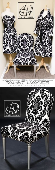 Tawni Haynes Custom Made Damask printed Dress, Chair, & Trench Coat. Contact us to get your own custom made apparel or furniture! 972-754-5096  www.facebook.com/TawniHaynesCustomApparel