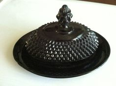 CAMEO BLACK Vintage Glass Tiara Exclusive Diamond Point Butter Dish