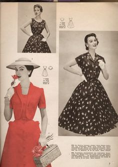 Three terrific warm weather styles from the pages of Burda, March 1956. #vintage #1950s #dresses #fashion