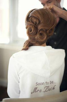 jacket, vintage hair, pincurl, swirl, wedding hairs