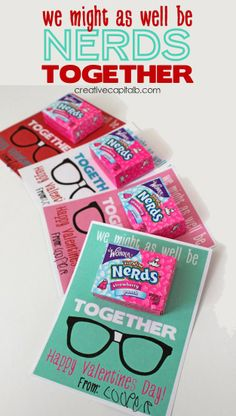 'Might as Well be Nerds Together' Valentines printable