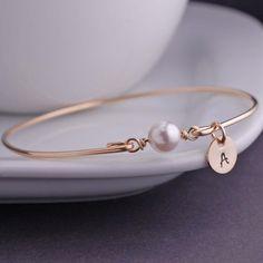 Personalized Pearl Jewelry, June Birthday, June Birthstone Gold Bangle Bracelet by georgiedesigns