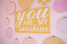 Pink, Coral, Yellow You Are My Sunshine Nursery Wall Art