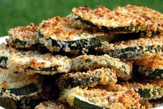 Oven Fried Zucchini Chips with Basil Dipping Sauce — Recipe from Cinnamon Girl Recipes