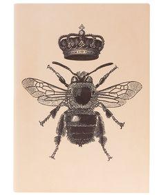 Cuir rose Couronne Bee Print Journal.