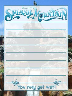 """Splash Mountain - Project Life Journal Card - Scrapbooking ~~~~~~~~~ Size: 3x4"""" @ 300 dpi. This card is **Personal use only - NOT for sale/resale** Logo/clipart/photograph belong to Disney. Splashes from www.clker.com . Font is Lera www.dafont.com/lera.font *** Click through to photobucket for more versions of this card ***"""