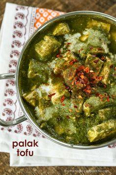Vegan Richa: Palak Tofu 'Paneer' - Tofu in Spinach curry. #vegan #entree #recipe